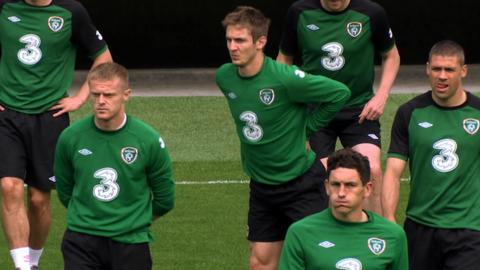 Republic of Ireland team in training