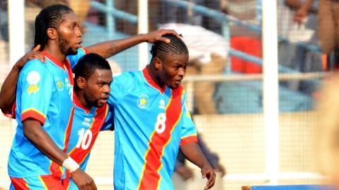 DR Congo players Dieumerci Mbokani, Matumona Zola and Trésor Mputu