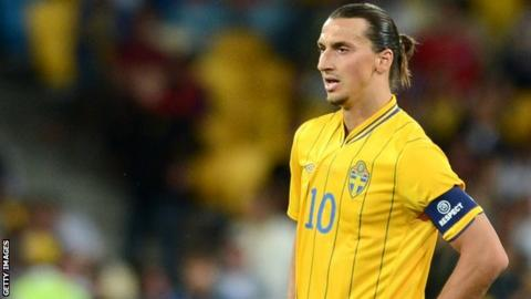Zlatan Ibrahimovic playing for Sweden