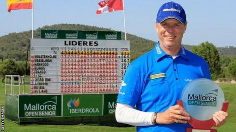 Gary Wolstenholme poses with the Mallorca Open Senior trophy
