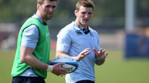 Vernon and Barclay in training ahead of Scotland's game against Samoa