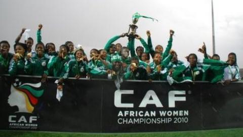 Nigeria celebrate winning the 2010 African Women's Championship