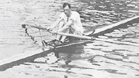 William Kinnear, single sculler, on the water at Stockholm, 1912