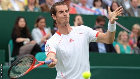 Andy Murray in action at The Boodles