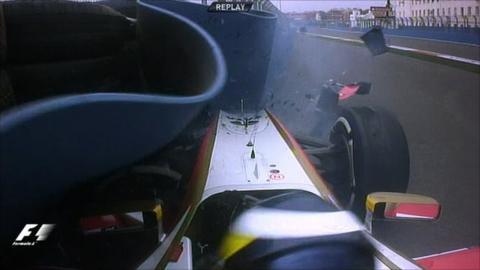 Pedro de la Rosa crashes in his HRT