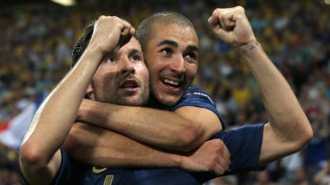 Yohan Cabaye and Karim Benzema of France