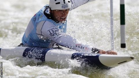 David Florence competes in the C1 at the World Cup event in Cardiff