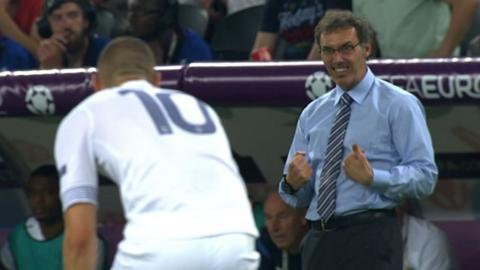 French manager Laurent Blanc tries to motivate Karim Benzema