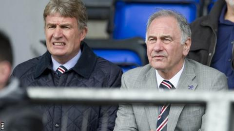 Sandy Jardine in the stand beside chief executive Charles Green