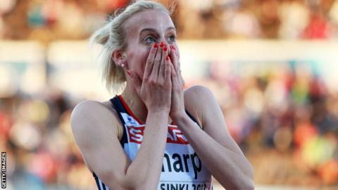 Lynsey Sharp is overcome after her European Championships second-place finish in the 800m
