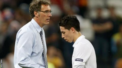 Laurent Blanc (left) and Samir Nasri