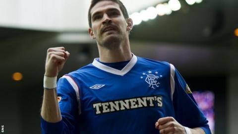 Kyle Lafferty celebrates scoring for Rangers