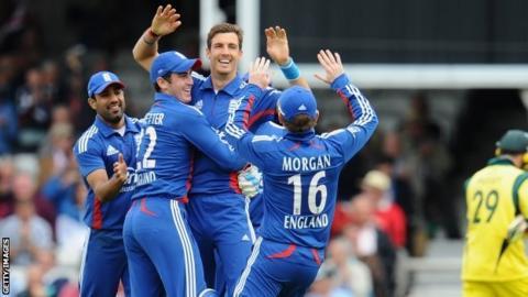 Steve Finn takes a wicket