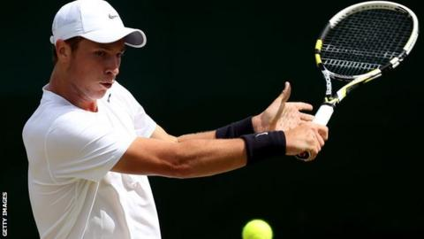 Luke Bambridge playing in the boys' singles at Wimbledon