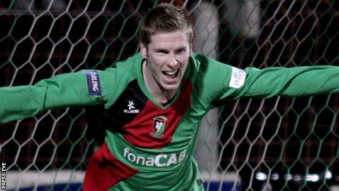 Darren Boyce celebrates after scoring for Glentoran