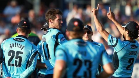 Sussex cricketers celebrate against Essex