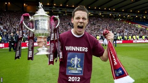 Ian Black celebrating with the Scottish Cup