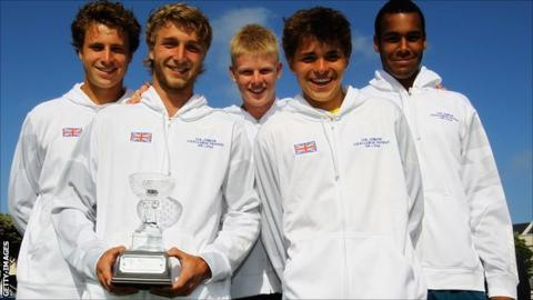 Left to right: Luke Bambridge, Liam Broady, Kyle Edmund, Peter Ashley and Joshua Ward-Hibbert with the LTA Challenge Trophy