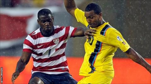 Keiran Murtagh (r) in action for Antigua & Barbuda against the USA in June