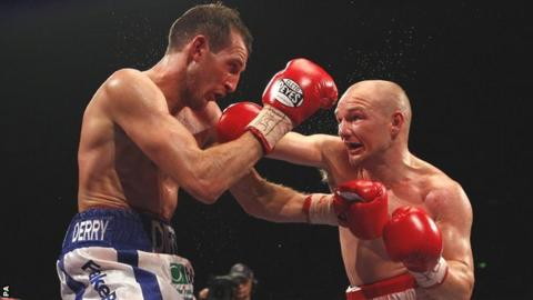 Gavin Rees (right) in action against Derry Matthews at the Motorpoint Arena, Sheffield