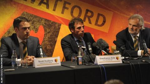 Scott Duxbury, Gianfranco Zola and Gianluca Nani