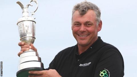 Darren Clarke holds the Open trophy