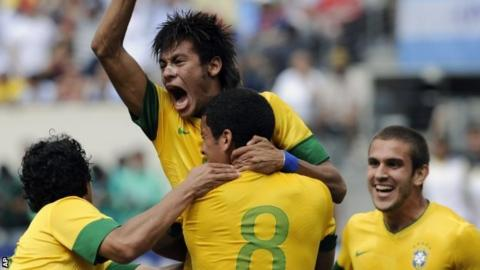 Neymar celebrates scoring a goal for Brazil