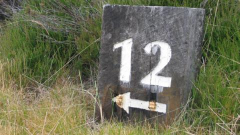 A waymarker at Castle Stuart Golf Links