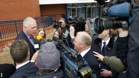 Dunfermline chairman John Yorkston arrives at Hampden