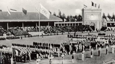 The opening of the 1920 Olympic Games, held in Antwerp, Belgium