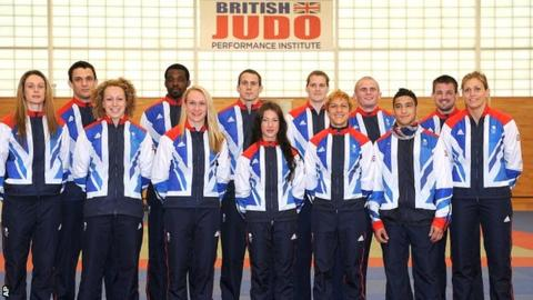 The British Olympic Judo squad with McKenzie third from the right