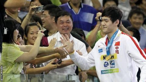 Sun Yang celebrates with Shanghai crowd after his world record