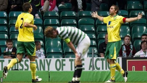 Russell Martin congratulates Norwich captain Grant Holt