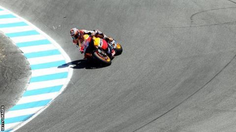 Casey Stoner racing at Laguna Seca in 2011