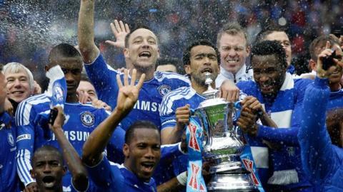 Chelsea celebrate last season's FA Cup win