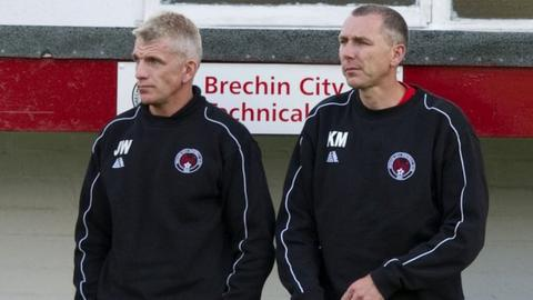 Brechin City manager Jim Weir and assistant Kevin McGowne