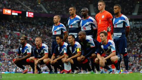 Four Welshmen – captain Ryan Giggs (bottom third right), Craig Bellamy (top left), Joe Allen (bottom right) and Neil Taylor (bottom fourth right) - started for Great Britain's football team in their opening match of the Olympic tournament against Senegal at Old Trafford