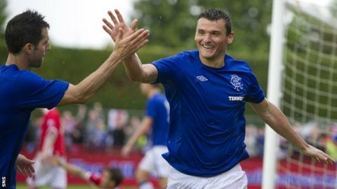 Lee McCulloch celebrates his extra-time winner against Brechin on Sunday