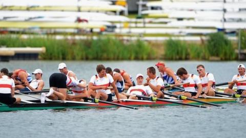 Great Britain and Germany men's eight rowers