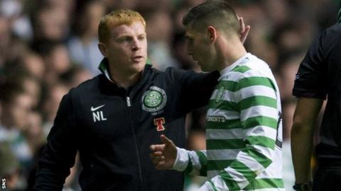 Celtic manager Neil Lennon and striker Gary Hooper