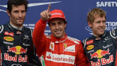 Mark Webber, Fernando Alonso & Sebastien Vettel