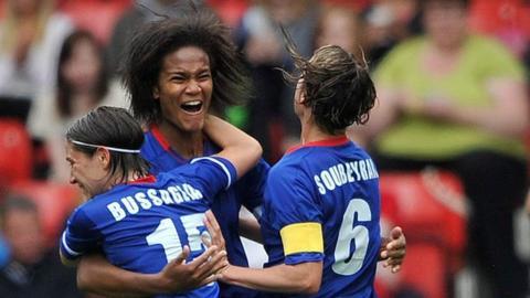 Wendie Renard of France celebrates her goal in Quarter Final V Sweden.