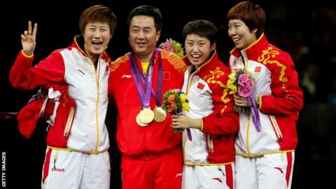 China's London 2012 women's team table tennis gold medal squad