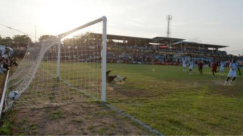 Southern Sudan score a penalty against Uganda at the Juba Stadium, 10 July 2012