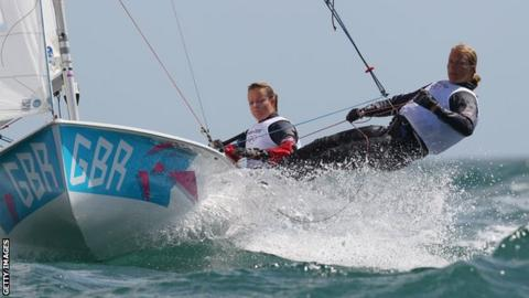 Hannah Mills and Saskia Clark for GB in women's 470 class