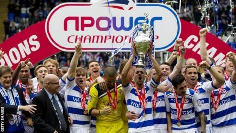 Reading celebrate winning the Championship title