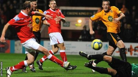 Wrexham's player-manager Andy Morrell scores