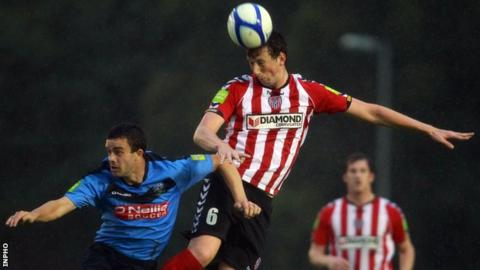 Shane McEleney wins an aerial duel against UCD last month