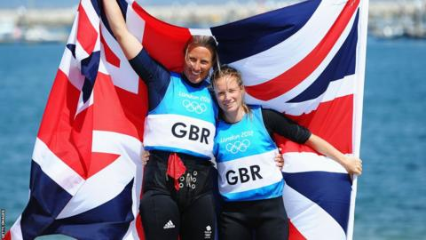 Sailor Hannah Mills (R) and partner Saskia Clark celebrate an Olympic silver medal in the 470 class, having also won the World Championships in Barcelona earlier in the year