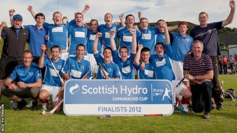 Kyles celebrate reaching the 2012 Camanachd Cup final